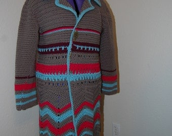 Crochet Coat  Grey with Blue and Pink Acryllic X-Large