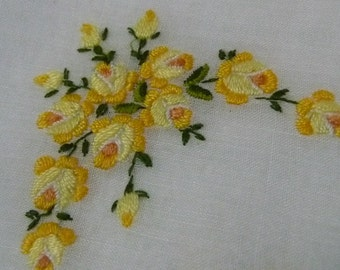 Vintage embroidered  hankie Hanky  yellow flowers
