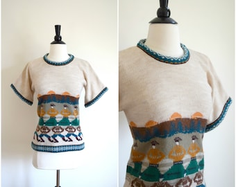 Vintage 1970s Collage Dress dancing people short sleeve sweater / tribal knit top
