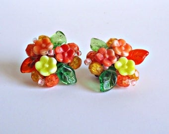 Vintage Glass Floral Earrings Clip On 1930's