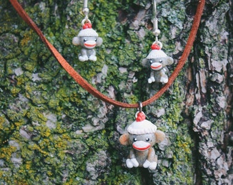 Sock Monkey Necklace + Earrings