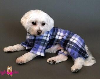 Plaid Dog Onsie, Blue Black White Dog Pajamas, Dog Sweater