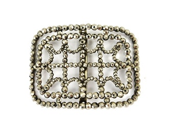 Antique French Cut Steel Buckle Victorian Jewelry Mourning Jewelry 1800s Antique Jewelry Assemblage Dress Clips Vintage Destash