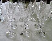 6 Vintage 24% Lead Crystal Bohemia Wine Glasses Marquis Pattern