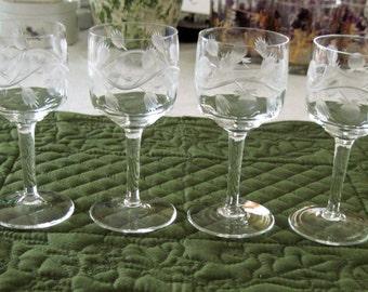 6 Gorgeous Vintage Gray Cut Fruit Leaf Vine Pattern Wine Glasses Circa 1960's