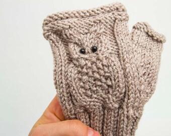 Owl gloves knitted fingerless owl gloves in beige -  COLOR OPTION AVAILABLE