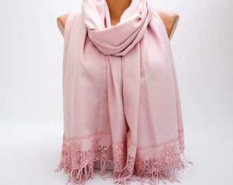 Scarf ,Bridesmaid gift ,Pashmina scarf with victorian french  lace edge  ,blush old  rose ,powder bridal gift ,