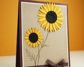 Handmade Thank You Cards - Sunflower card- Friendship Greetings - Thank You Wishes - Hello Cards - Blank Greeting Cards - Fall cards
