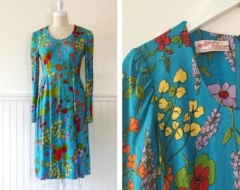1960s Colorful Print Dress --> 1960s Dress  --> 60s Dress  --> 1960 Dress -->  Floral Dress --> Long Sleeve Dress --> Floral Print Dress