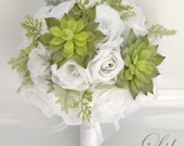 "17 Piece Package Wedding Bridal Bouquet Silk Flowers Bouquets Bride Groom Maid Greenery SUCCULENT Light GREEN WHITE ""Lily of Angeles"" WTGR02"