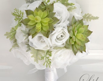 """17 Piece Package Wedding Bridal Bouquet Silk Flowers Bouquets Bride Groom Maid Greenery SUCCULENT Light GREEN WHITE """"Lily of Angeles"""" WTGR02"""