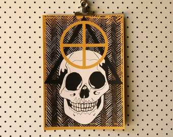 Skull Symbols Limited Edition hand-pulled screen print A4 Serigraph Art Print yellow