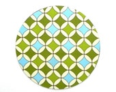 Mouse Pad - Round Fabric mousepad - Geometric in Blue and Green - Home office / computer / Electronic