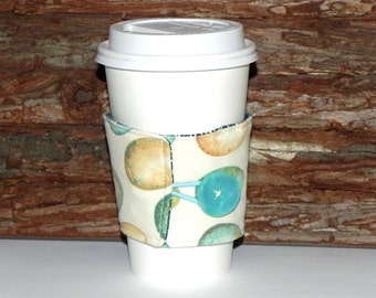Fabric Coffee Cozy Sleeve - Reusable insulated Tea Cozy-Hot or Cold drink -Eggs in cream, seafoam and beige