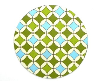 Mouse Pad - Round Fabric mousepad - Geometric in Blue and Green - Home office Computer - Trivet