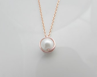 Rose Gold Pearl Necklace, Pearl Necklace, Rose Gold Jewellery, UK Seller, Bridesmaid Gifts, Single Pearl Necklace, Simple Pearl Jewelry