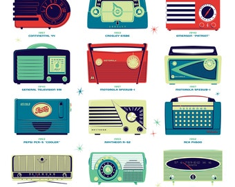 High Fidelity Style Silkscreen Poster by Ian Glaubinger inspired by Mid Century Modern Radios