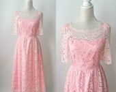 Vintage Dress, Pink Lace Dress, Vintage Pink Dress, Vintage Lace Dress, Retro 80s Dress, Pink Formal Dress, Lace Formal Dress, 1980s Dress