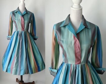 1950s Dress, Vintage Dress, Striped Vintage Dress, Shirt Dress, 50s Shirt Dress, 50s Rockabilly Dress, Vintage 50s Dress, Retro 1950 Dress