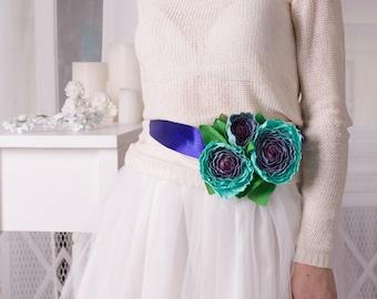 Turquoise Floral Waist Belt Blue Waist Belt Floral Belt unique belt flower belt womens girls accessory gifts mother gifts