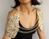 Bridal Harness Shrug, Gold Sequin Shoulder Cover Wing Sleeves Bolero Wedding Cape Festive Fashion Evening Wear Chain Necklace Modern Jewelry