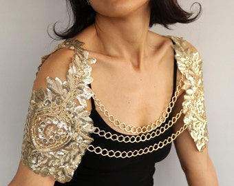 Bridal Harness Shrug, Gold Sequin Shoulder  Cover, Wing Sleeves Bolero Cape, Evening Wear Fashion Chain Necklace Jewelry, Modern Wedding