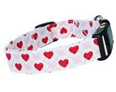 Pet Red Pink White Heart Dog Collar, Adjustable Dog Collar, Fabric & Nylon Dog Collar - Adorable Pet Heart Dog Collar Red Pink White