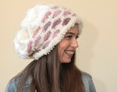 HAND KNIT slouchy shaggy hat original design by Solandia Sugar Cookies Pink on White Jamiroquai inspired winter accessories knitted gift