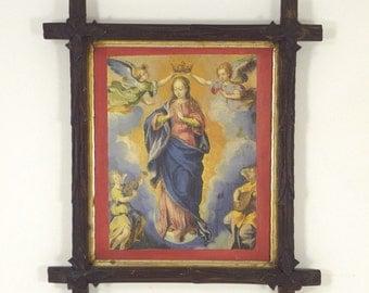 VTG Madonna Ascending Renaissance-style in Carved Picture Frame w/Leaf Corners