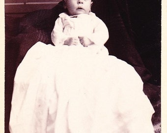 Old Photograph Baby in Christening Gown Vintage Photo Paper Ephemera Snapshot Photo Collectibles