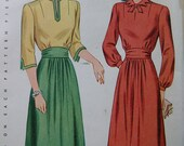 Fabulous Vintage 40s Misses Dress Pattern ONE PIECE DRESS Factory Folded