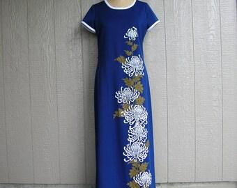 Vintage 70s BLUE HAWAIIAN SPLASH Alfred Shaheen Maxi Dress