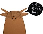Funny Card for Friend, Blank Birthday Card, Och Aye The Moo Card, Scottish Highland Cow Card, Talking Animal Card, Heilan Coo, Poosac