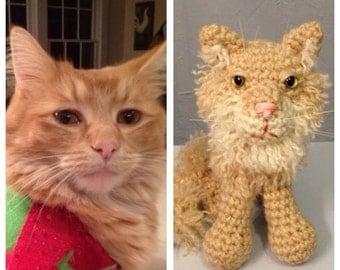 Custom Crochet Kitty Amigurumi - Crocheted Pet Memorial - made to order - memorial gift - collectible crochet cat