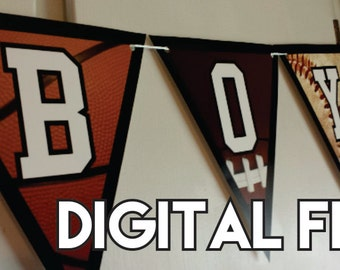 DIY DIGITAL Banner - Large Sports Baby Shower It's A Boy!