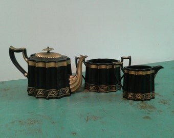 Victorian coffee/ tea set, black and gold tea set,  creamer and sugar, coffeepot/ teapot, 3 pieces of tea