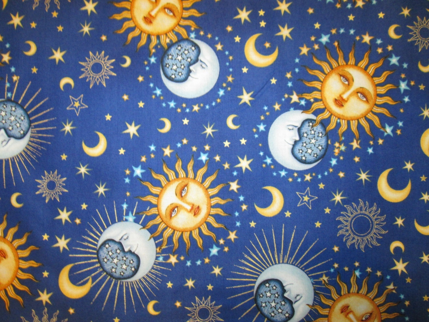 Sun moon planets goddess dark blue cotton fabric fat quarter for Sun moon fabric