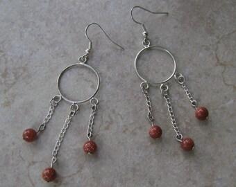 Gold Stone Charm & Silver Chain Hoop Earrings