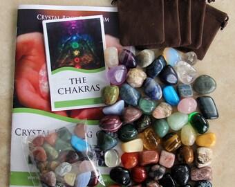 Quality HUGE 45 Tumbled Stone CRYSTAL HEALING Gemstone Set + Bonus Stones