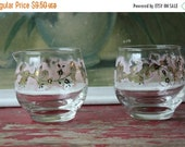 ON SALE %30 OFF Vintage Glass Cream And Sugar Set Pink And Gold, Mid Century Kitchen, Vintage Coffee And Tea