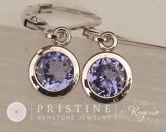 Tanzanite Dangle Earrings in Round 14k Gold Filigree Lever Back Design December Birthstone Gemstone