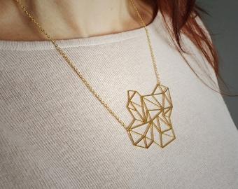 Geometric triangle explosion necklace