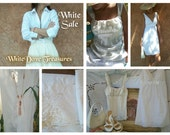 WHITE SALE WOMAN Summer Clothing Accessory - Satin Top - Eyelet Dress - Frog Tie Asian Blouse - Eyelet Dress - Sandals - Handbag Battenburg