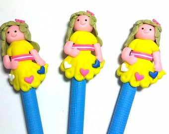 New Cute Handmade Polymer Clay Writing Pen Cartoon Girl with hearts