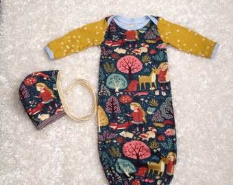 Organic Acorn Trail Girls Baby Gown Layette Coming Home Outfit Set Hat Helmet Bonnet Newborn