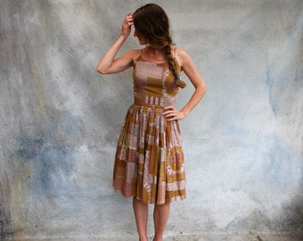50s cotton summer sundress - 1950s brown and tan pleated full skirt spaghetti strap dress- small