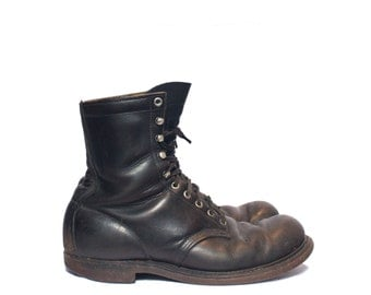 9 1/2 D | Vintage Red Wing Boots Insulated Black Leather Boot