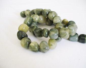 Green Line Jasper Gemstone Beads Greens Pebbles 8x10x9MM