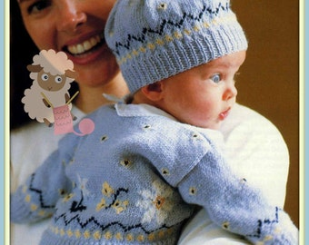 PDF Knitting Pattern for a Baby Boy/Girl Fair Isle Cardigan and Matching Hat - Instant Download