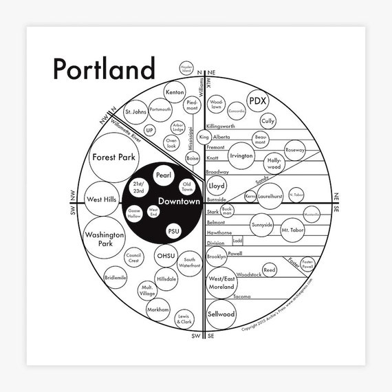 Minimalist Portland Map Screen Print in 4 colors - Fancy - Beautiful - Cool - Neighborhood - Graphic - Interesting - Simple